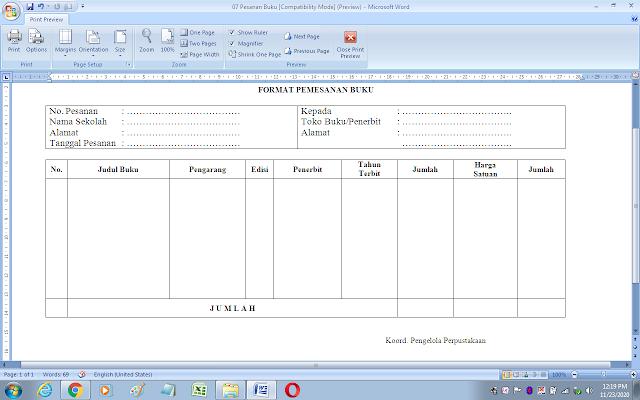 Contoh format pemesanan buku perpustakaan sekolah