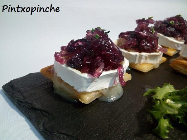 aperitivo, navidad, cebolla, queso, queso de cabra, RECETAS SIN GLUTEN, PINTXOS, hojaldres, chutney, cebollino,
