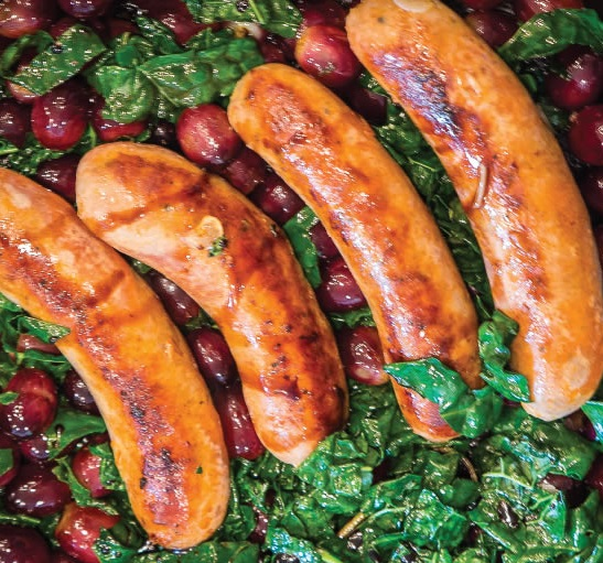 How to Make Italian Sausages with Grapes and Greens