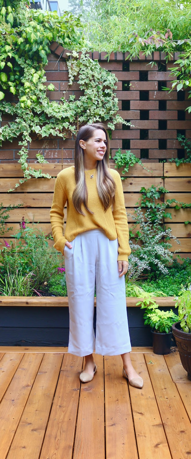 Jules in Flats - Mustard Crop Sweater with Wide Leg Pants (Business Casual Workwear on a Budget)