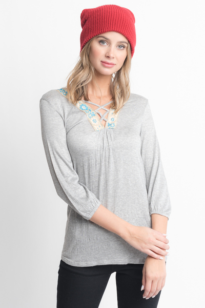 Shop for Grey Cross Front Blouse -Criss Cross Front Floral Trim Elastic Cuff Top on caralase.com