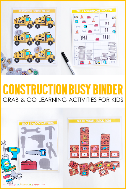 Are you looking for simple hands on learning activities to keep your young learners engaged and learning while playing? Do you have a little one who is obsessed with Construction equipment?  This Construction Themed Activity Binder for preschool and kindergarten has ten interactive learning activities that are perfect for any time of year and will keep your learner engaged and having fun while learning. Check out all ten construction themed learning activities and grab a copy for your home or classroom here.