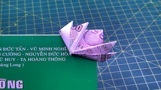 xếp tiền giấy bookmark hoa sen money origami lotus bookmark