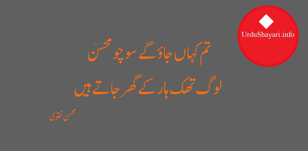 Sad Urdu Status - Tum Kahan Jao Gaye 2 lines poetry by Mohsin naqvi