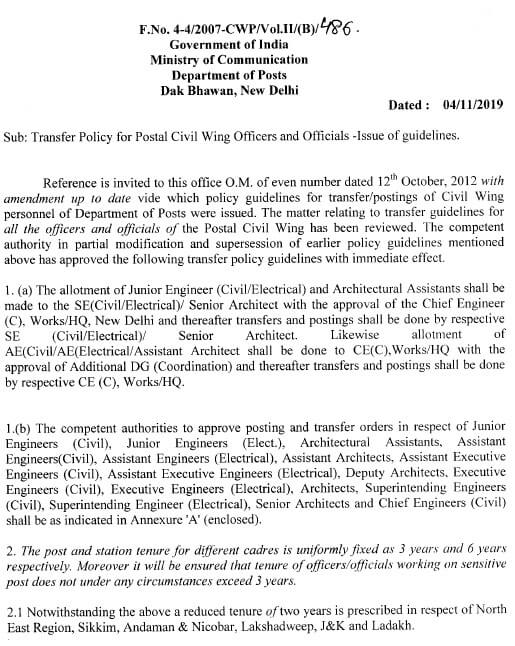 Guideline regarding Transfer Policy for Postal Civil Wing Officers and Officials