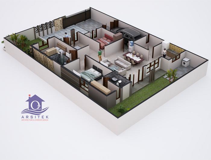 Denah 3D Rumah Mewah