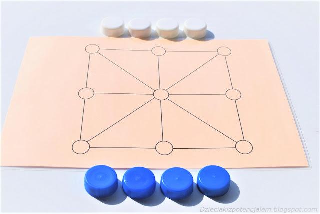 na zdjęciu plansza do gry w Achi składająca się z dziewięciu połączonych liniami pól, obok planszy leżą cztery białe nakrętki i cztery niebieskie, nakrętki służą za pionki