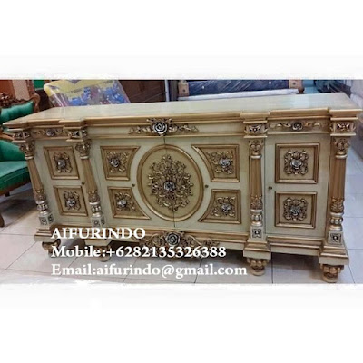 Classic CABINET WITH IVORY painted GOLD LEAF furniture Jepara code A307