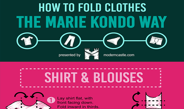 How to Fold Clothes Like Marie Kondo #infographic