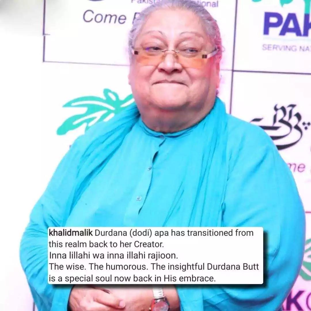 Veteran actress Durdana Butt passes away