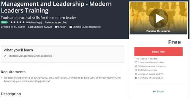 [100% Free] Management and Leadership - Modern Leaders Training