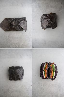 Cuillère et saladier : Pas à pas Onigirazu au riz noir vegan