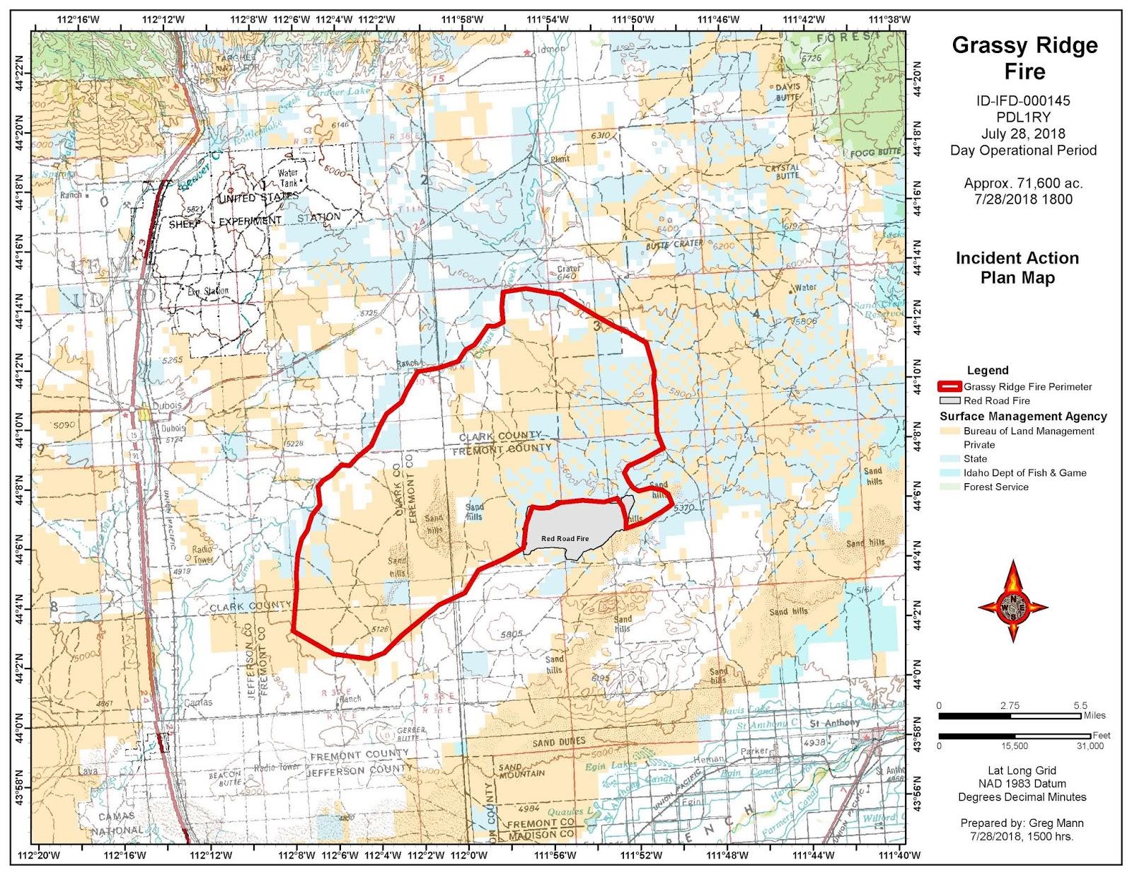 Idaho Fire Information Grassy Ridge Fire 7 28 18 Afternoon Update