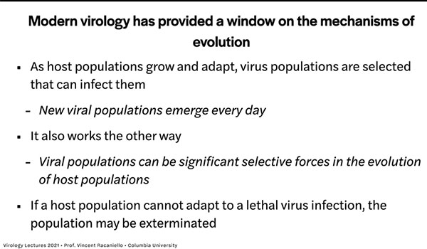"Modern virology and evolution (Source: Vincent Racaniello, ""Virology Lectures 2021)"