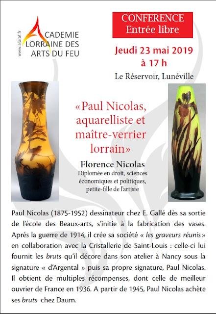 "LUNEVILLE (54) - Conférence ""Paul Nicolas, aquarelliste et maître-verrier lorrain"" (23 mai 2019)"