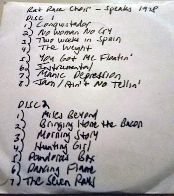 Rat Race Choir... 1978 set-list at Speaks rock club