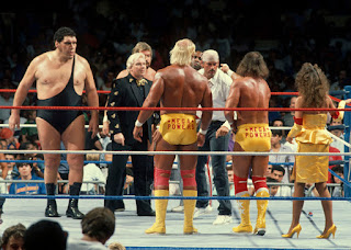 WWF SummerSlam 1988 Mega Powers Hulk Hogan Randy Savage Miss Elizabeth vs Mega Bucks Andre the Giant Ted DiBiase Bobby Heenan