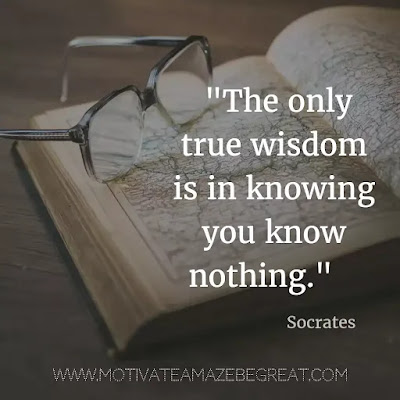 "40 Most Powerful Quotes and Famous Sayings In History: ""The only true wisdom is in knowing you know nothing."" - Socrates"