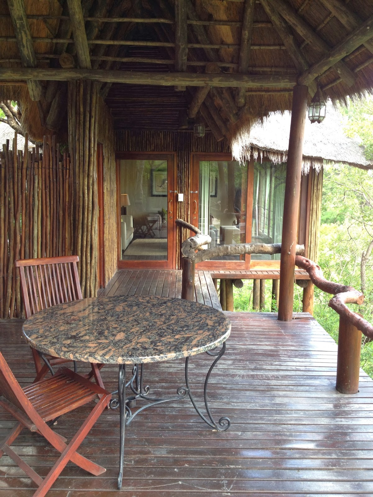 Sabi Sands - Our deck and private living room at Simbambili Game Lodge