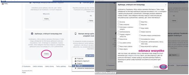 ustawienia aplikacji facebooka prywatność