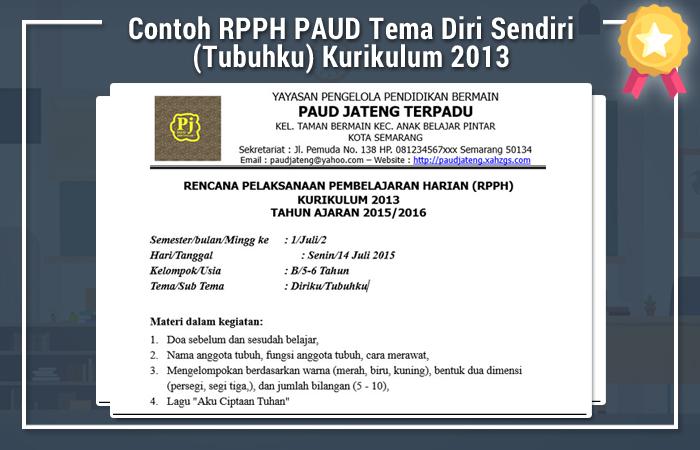 Contoh RPPH PAUD Tema Diri Sendiri (Tubuhku) Kurikulum 2013