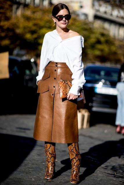 С чем носить кожаную юбку 8-2