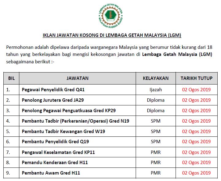 Jawatan Kosong Di Lembaga Getah Malaysia Lgm Kelayakan Pmr Spm Diploma Ijazah Ejawatankini Com