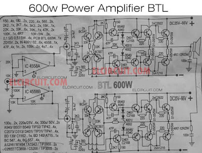 600W Power Amplifier BTL Circuit Diagram