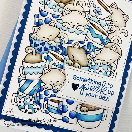 Perk Up Your Day Kitty and Coffee Card by Samantha VanArnhem | Caffeinated Cats Stamp Set and Frames & Flags Die Set by Newton's Nook Designs  #newtonsnook #handmade