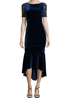 Theia short lace sleeve velvet fit and flare midi dress in sapphire blue
