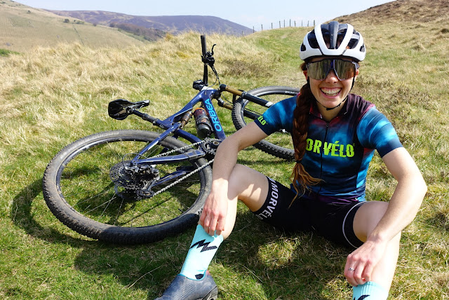 Isla Short national elite XC MTB racer training in the Scottish Borders.