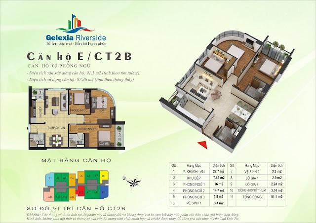 Mặt bằng căn hộ E tòa CT2B - CT3 chung cư Gelexia Riverside