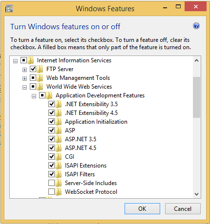 Enable asp.net features in application development section
