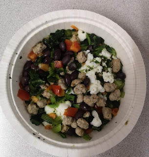 Inner contents of Whole & Simple Salsa Verde Breakfast Burrito Bowl, from Aldi