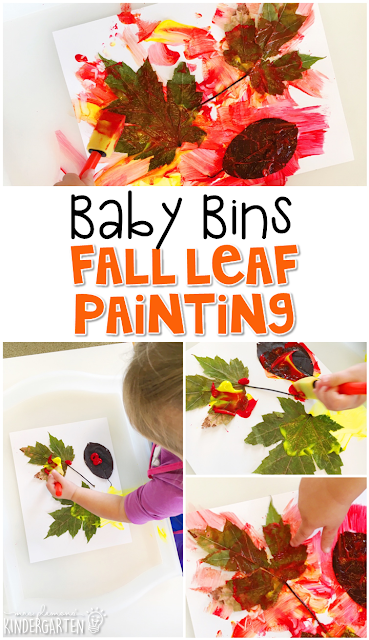 This fall leaf painting project is a super fun art activity for a fall theme and is completely baby safe. These Baby Bin plans are perfect for learning with little ones between 12-24 months old.