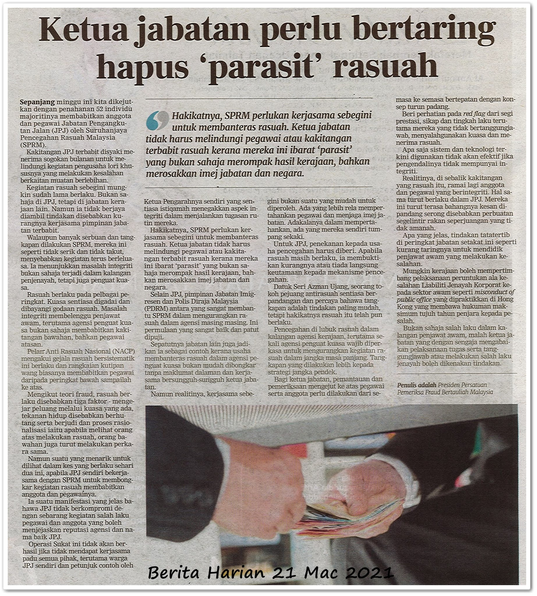 Ketua jabatan perlu bertaring hapus 'parasit' rasuah - Keratan akhbar Berita Harian 21 Mac 2021