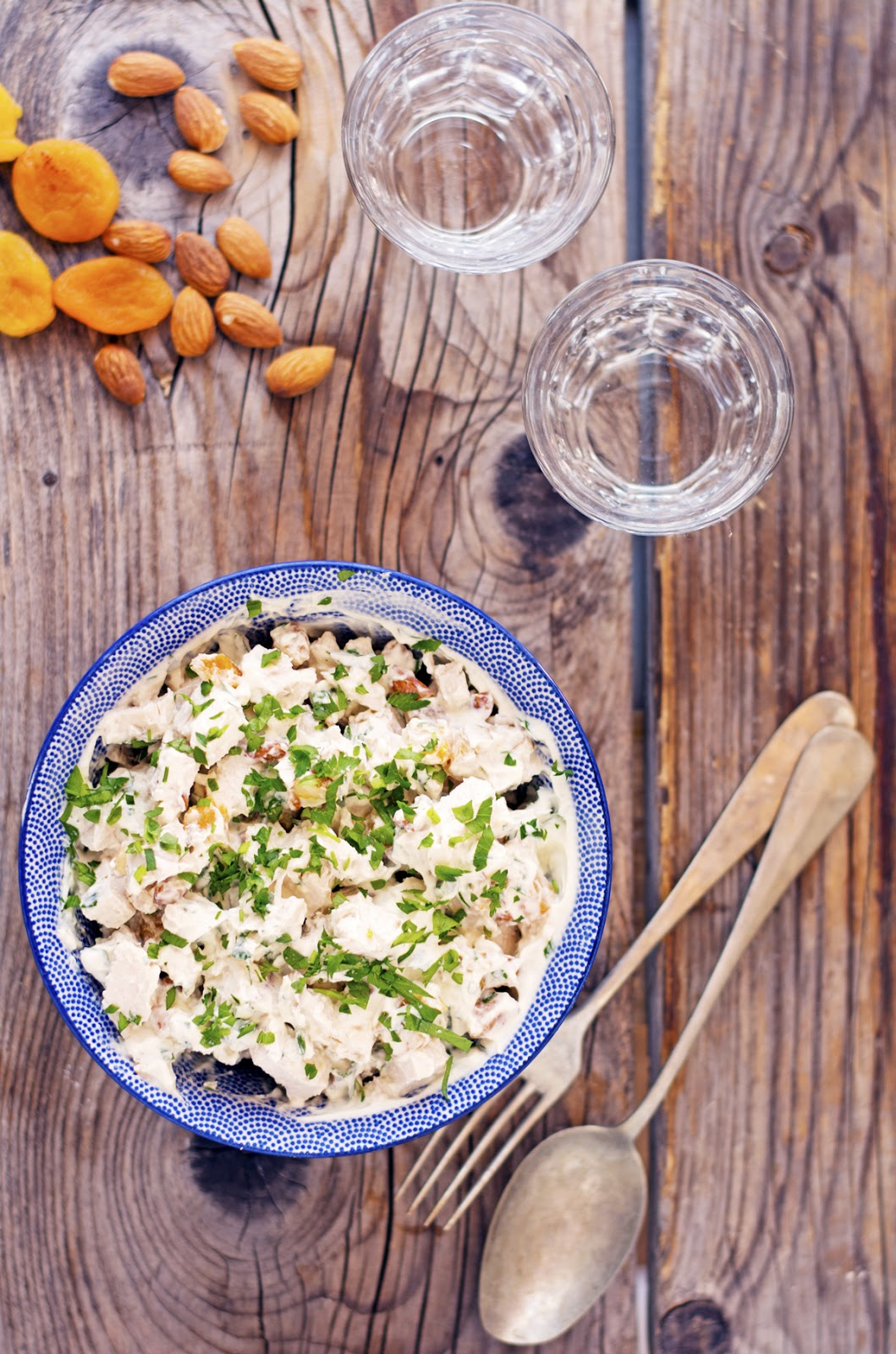 Chicken Salad with Almonds Apple and Apricots