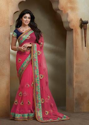 Shriya Saran Tollywood And Bollywood Actress In Magenta Color Designer Party Wear Saree.