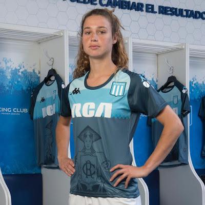 Racing Club, siempre marcando el rumbo: por primera vez una mujer está estampada en una camiseta de un club grande. La Academia se suma al movimiento feminista