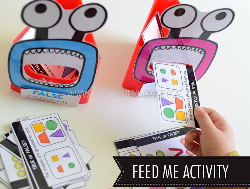 Kindergarten Math Shapes - Feed Me Shapes Activity