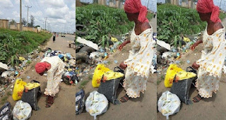 Mpbaseblog gist: Woman caught picking used sanitary pads and diapers at waste bin in Owerri
