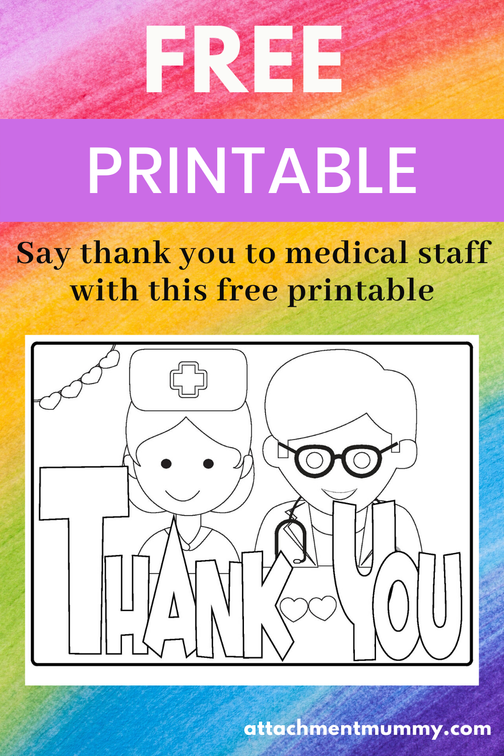 Free Thank You Medical Staff Nhs Colouring Poster Printable