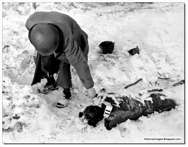 dead American soldier shot by  SS at Malmedy  December 1944