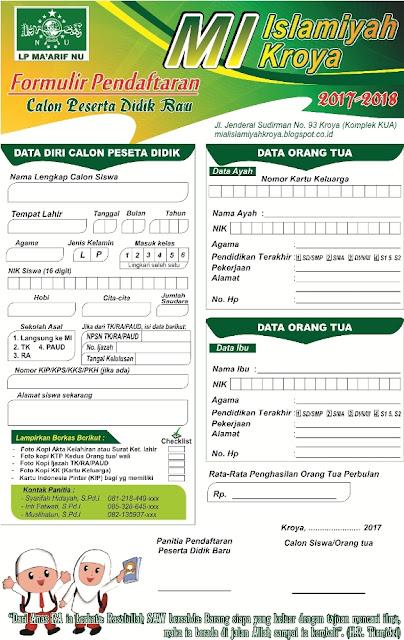 Desain Formulir Pendaftaran Peserta Didik Baru (PPDB) SD/MI cdr