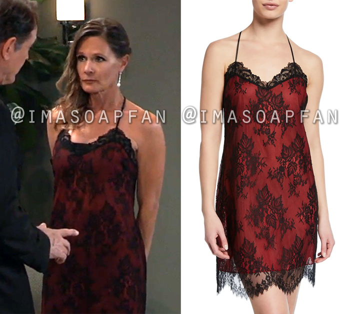 Lucy Coe, Lynn Herring, Red Slip with Black Lace Overlay, Nurses Ball, General Hospital, GH
