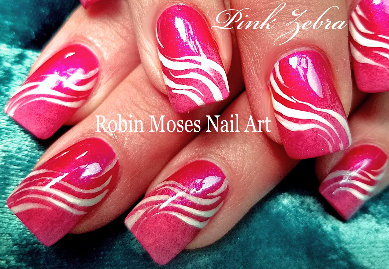 Nail Art by Robin Moses: White Zebra Print on Pink Polish with Light ...