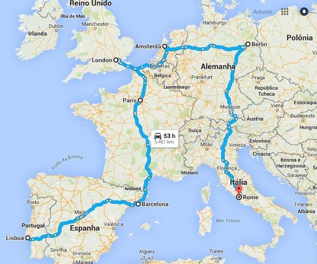 Eurotrip Europa Portugal Lisboa Espanha Barcelona Itália Roma França Paris Inglaterra Londres Holanda Amsterdã Alemanha Berlim