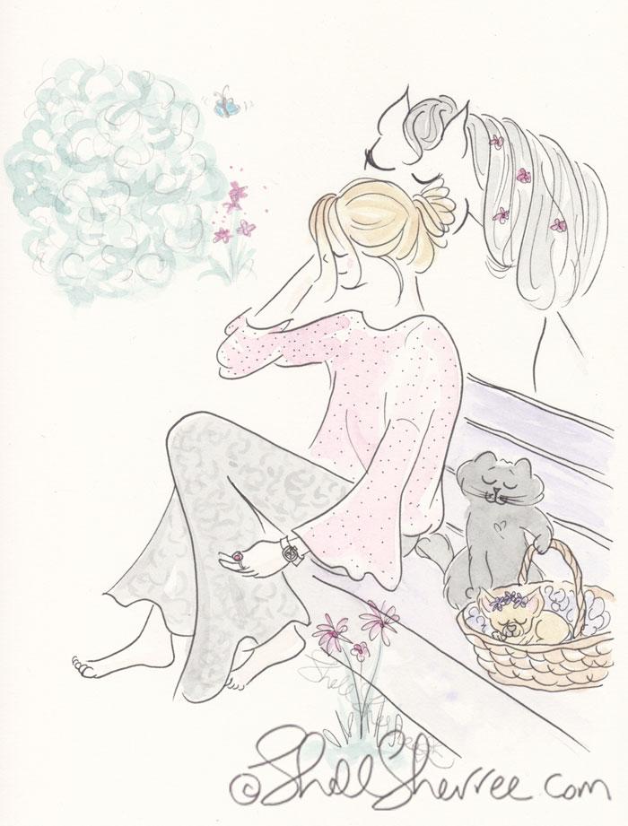 Fashion & Fluffballs Illustration : Tressage and Tiny Tots © Shell-Sherree
