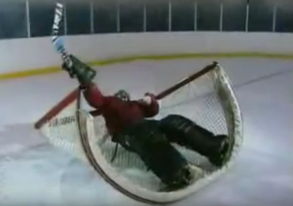 Steve Carrell plays goalie in Hockey Perfectionist sketch on The Dana Carvey Show