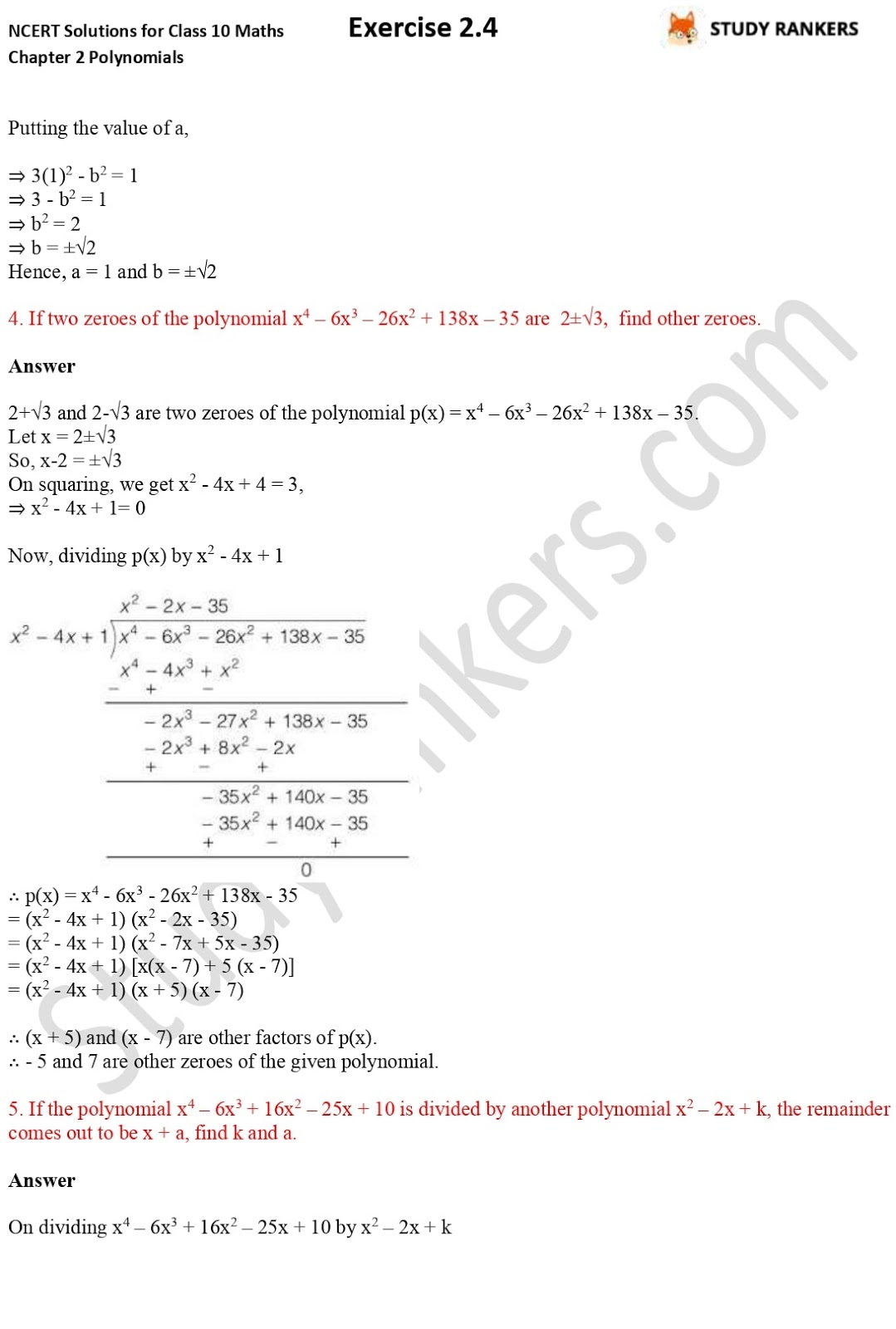 NCERT Solutions for Class 10 Maths Chapter 2 Polynomials Exercise 2.4 3